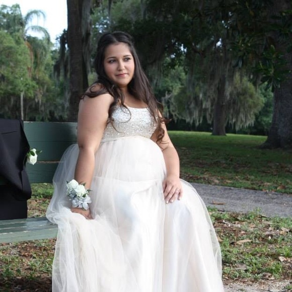 Plus Size Champagne Strapless Ball Gown Prom Dress